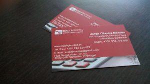 Cartões de Negócio Personalizados para a Kuality Kontas